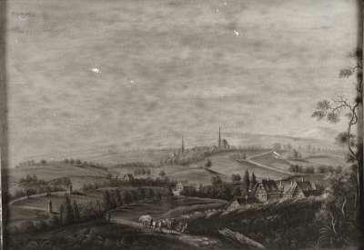 Landschaft mit Pferdefuhrwerk