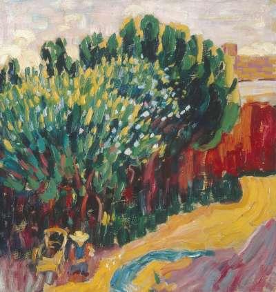 Landschaft aus Carantec mit Frau