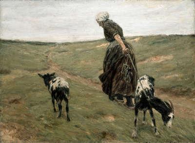 Frau mit Geißen in den Dünen