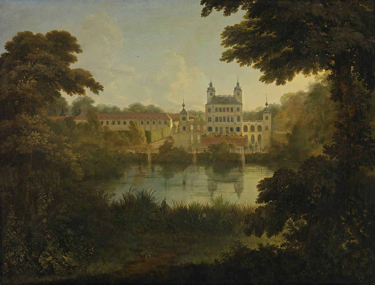 Das alte Schloss Benrath bei Düsseldorf, Ansicht von Süden