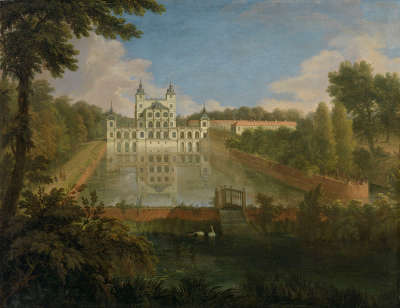 Das alte Schloss Benrath bei Düsseldorf, Ansicht von Norden