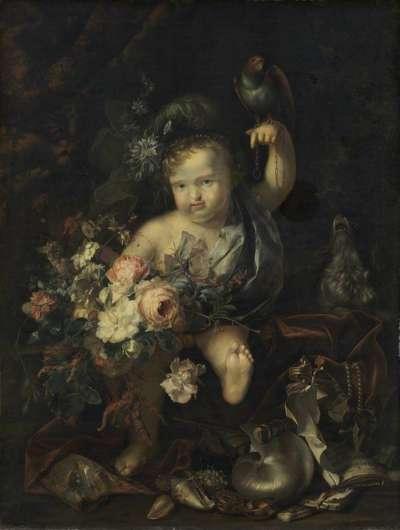 Knabe mit Blumen und Papagei