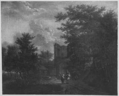 Baumlandschaft mit Ruine