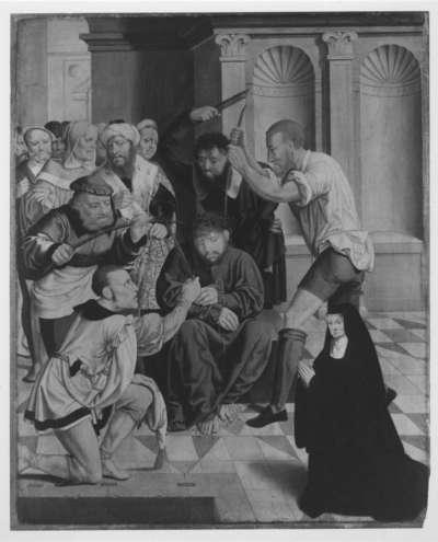 Rinck-Altar: Dornenkrönung Christi mit der Stifterin Anna Rinck