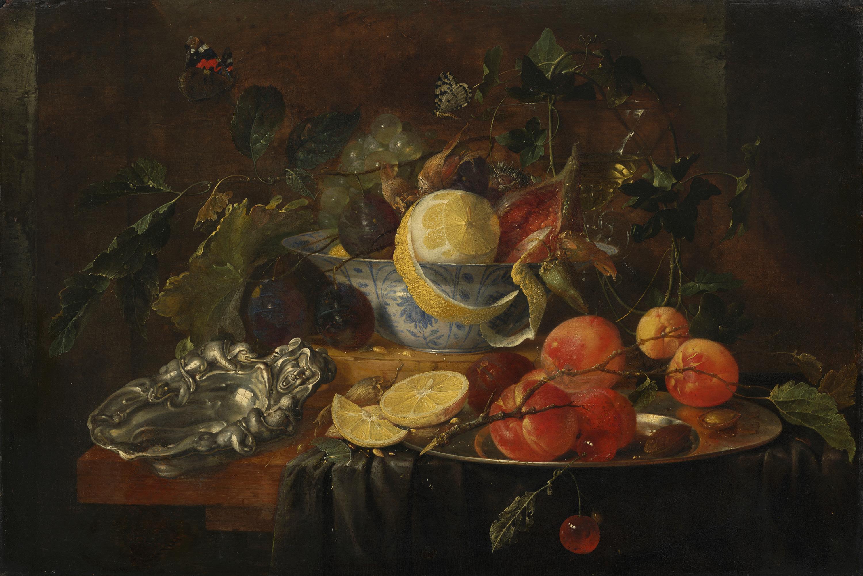 Stillleben mit Früchten und Silberschale