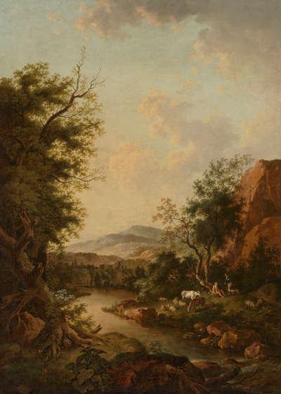 Flusslandschaft mit Hirten und ihrer Herde