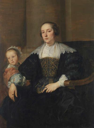 Bildnis der Anna van Thielen, Gattin des Malers Theodoor Rombouts, mit ihrer Tochter Anna Maria