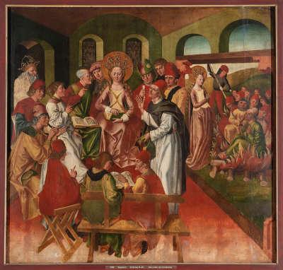 Atteler Altar: Disputation der hl. Katharina und Martyrium der Philosophen (Rückseite: ehemals Relief)