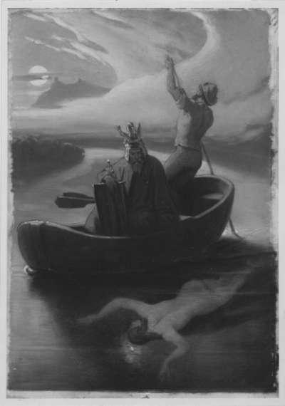 Ritter auf nächtlicher Wasserfahrt