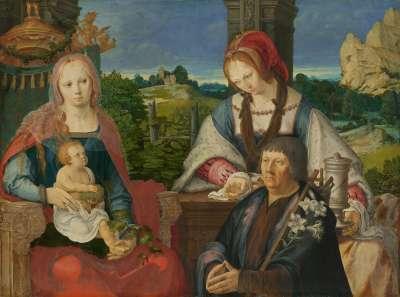 Maria mit Kind, hl. Maria Magdalena und Stifter (abgetrennte Außenseite Inv.-Nr. 7713)