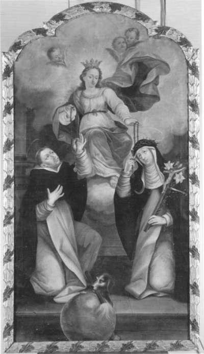 Maria reicht den hll. Dominikus und Katharina den Rosenkranz