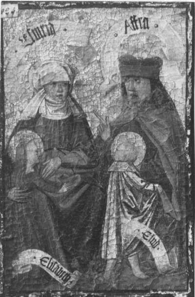 Zweiter Kirchheimer Sippenaltar: Esmeria und Afra mit Elisabeth und Eliud