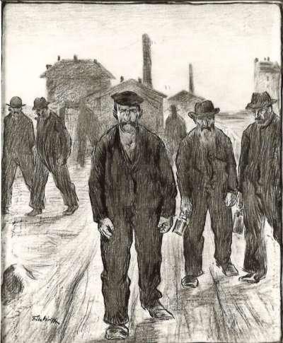 Arbeiter nach der Schicht