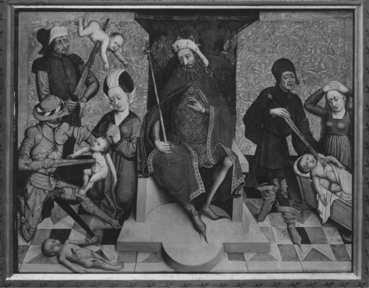 Tafel vom Hochaltar aus St. Mang in Füssen: Der Bethlehemitische Kindermord Rückseite: Christi Himmelfahrt