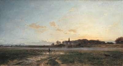 Die Theresienwiese mit der Bavaria bei Abendlicht