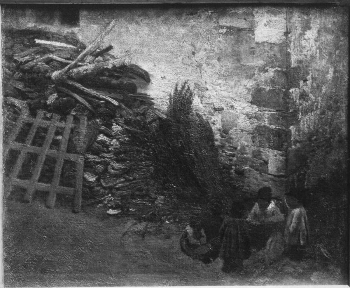 Mauerwinkel mit Holzstoß