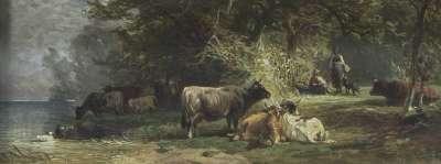 Kuhweide am Fluss mit Hüterpaar