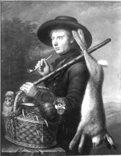 Marktbursche mit Hase und Federvieh