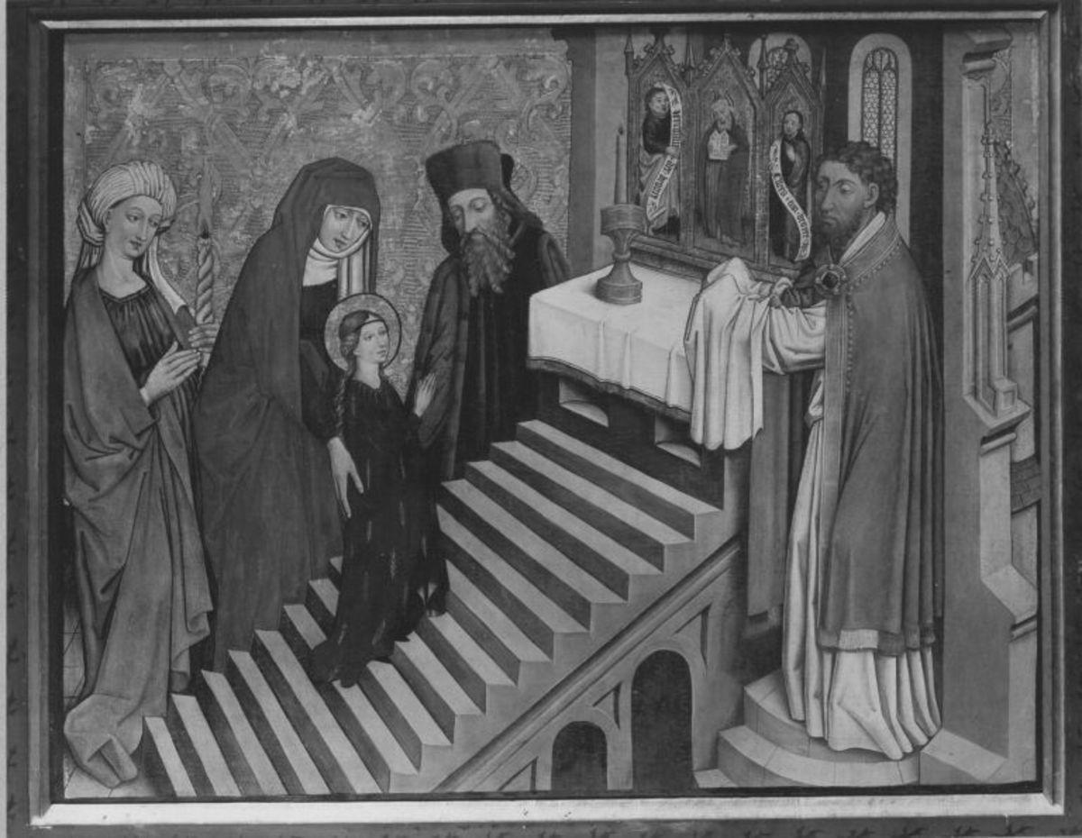 Tafel vom Hochaltar aus St. Mang in Füssen: Tempelgang Mariens Rückseite: Christus vor Pilatus