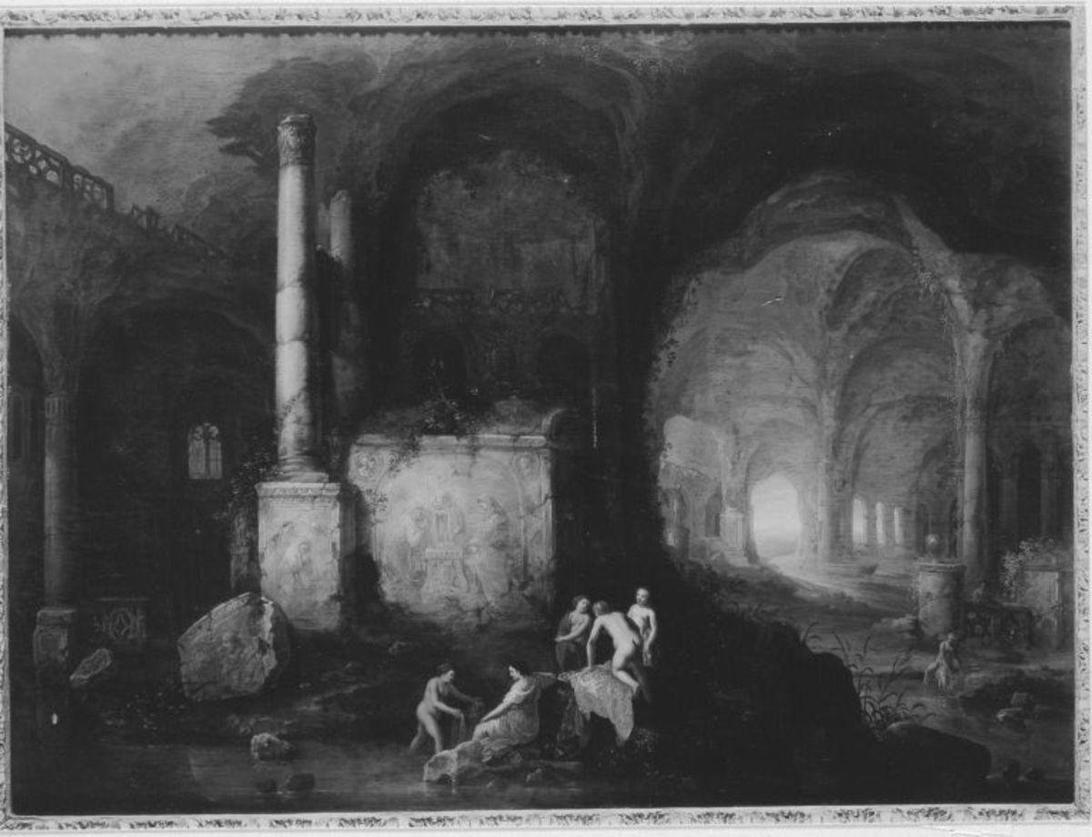 Badende Mädchen in einer Felsgrotte