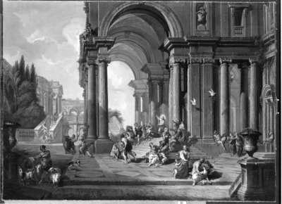 Architekturbild (Christus treibt die Händler aus dem Tempel)