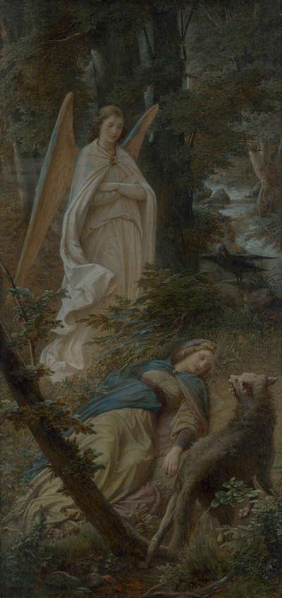 Berta schläft im Walde (Triptychon, linker Flügel)