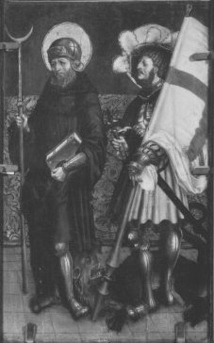Rechter Flügel eines Altares: Hll. Wilhelm von Maleval und Georg Rückseite: Johannes auf Patmos