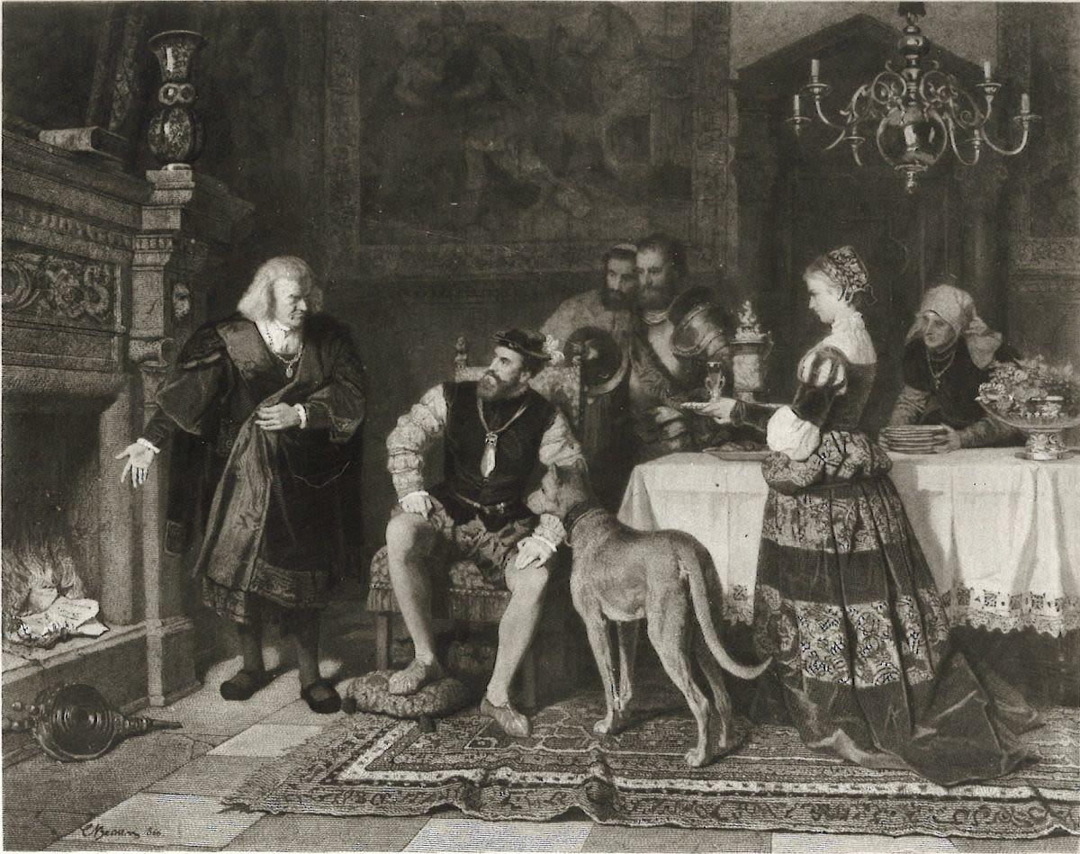 Kaiser Karl V. bei Fugger (Holzstich von Friedrich Wilhelm Zimmermann nach einem Gemälde von Carl Becker aus dem Jahr 1866)