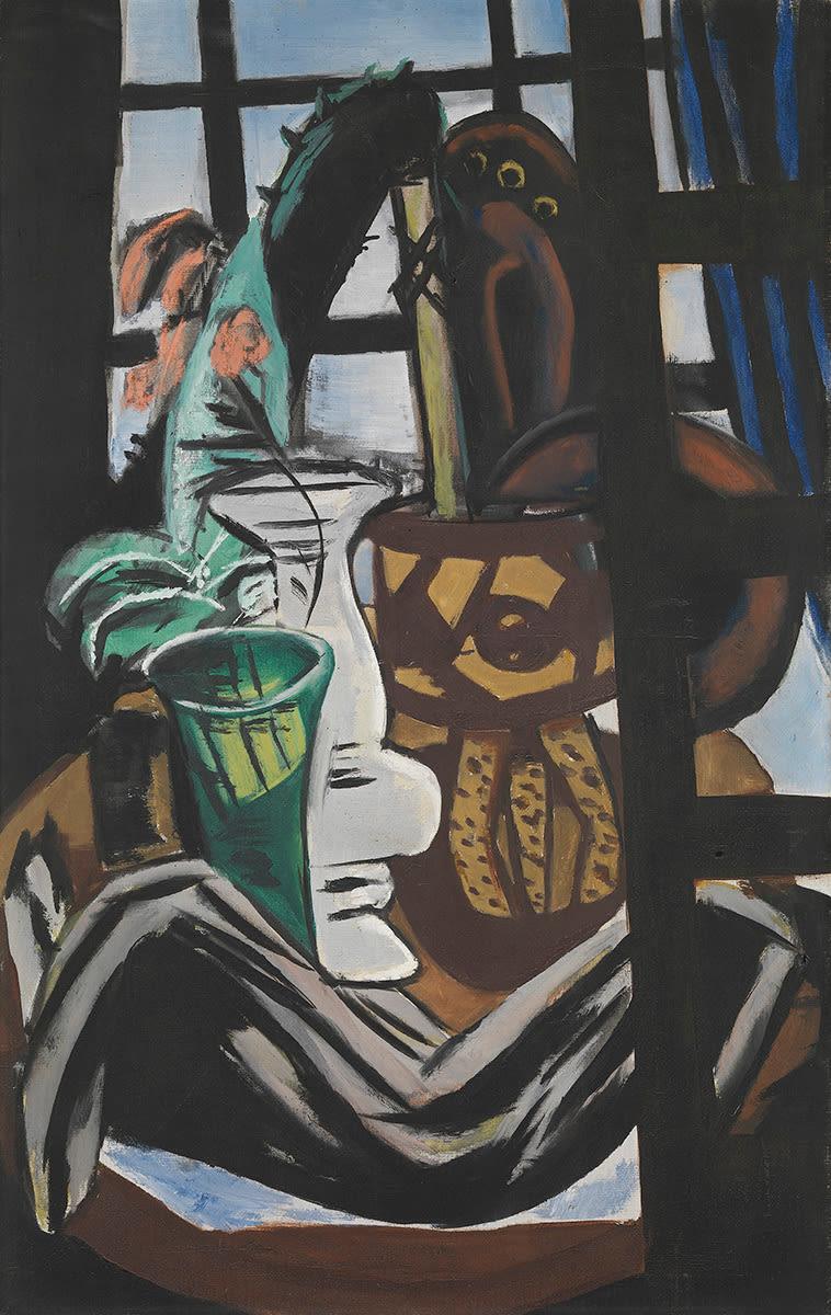 Atelier mit Tisch und Gläsern (Stillleben mit Atelierfenster)