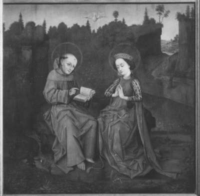 Klarenaltar: Die hl. Klara empfängt die Lehren des hl. Frankiskus