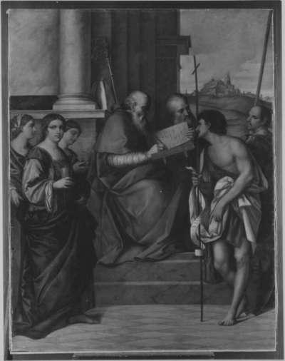 Thronender hl. Johannes Chrysostomus mit Heiligen (nach Sebastiano del Piombo)