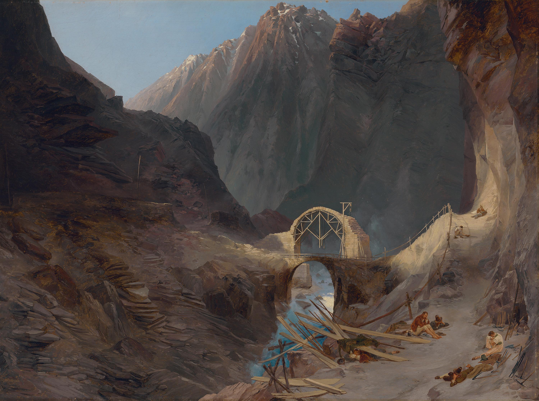 Bau der Teufelsbrücke