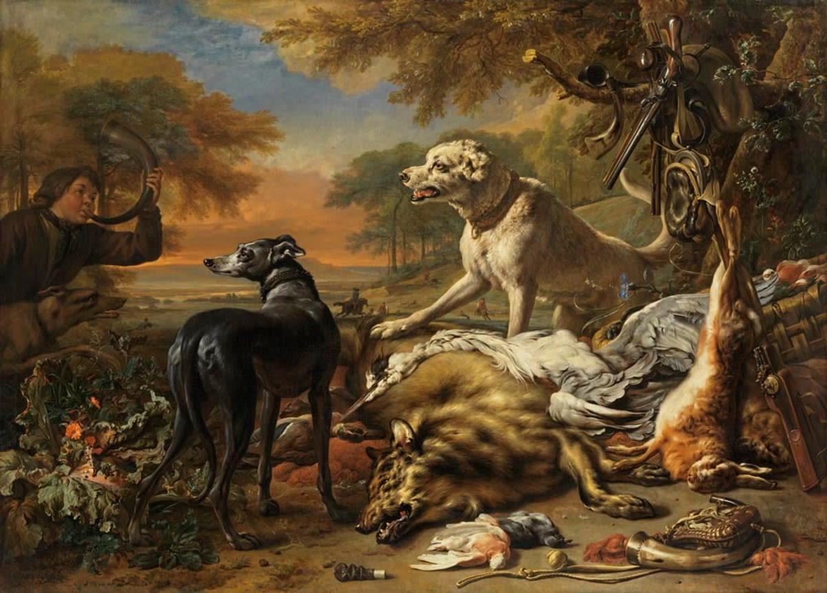 Jagdbeutestillleben mit Wolf