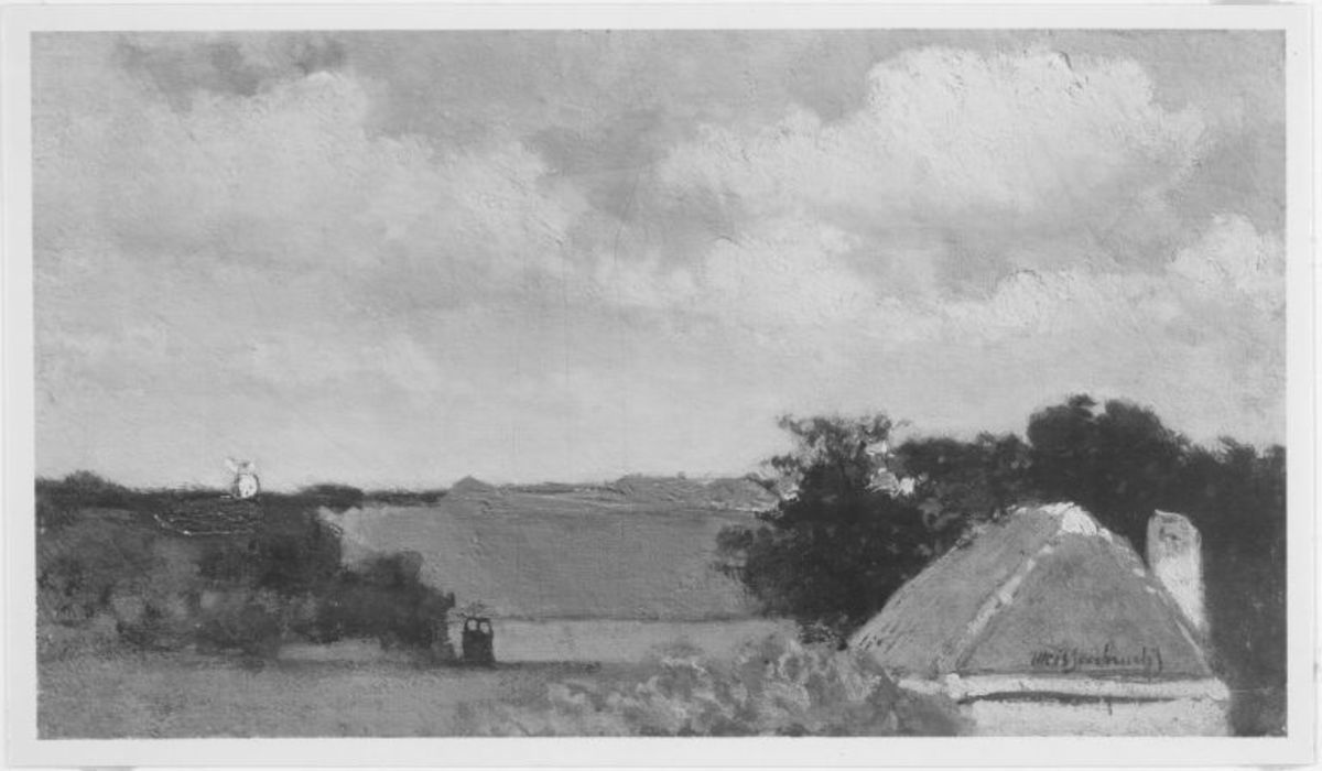 Wolkenhimmel mit Bauernhäusern