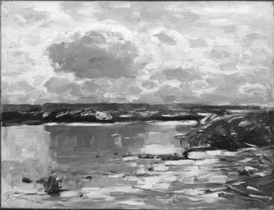 Dunkle Wolken am See