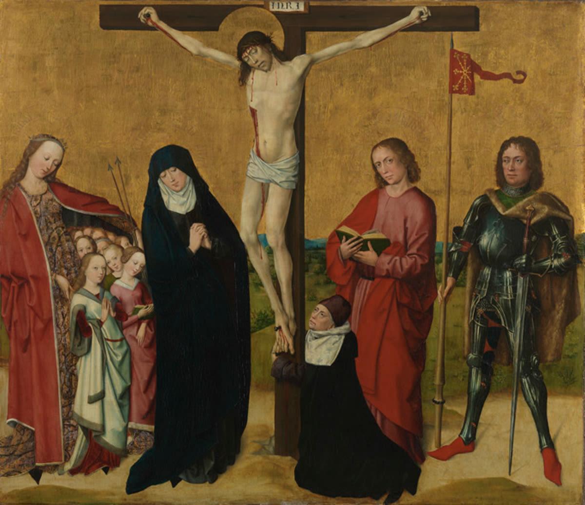 Christus am Kreuz mit den hll. Maria, Johannes Ev., Ursula, Hippolytus und dem Stifter Bernardus de Reyda
