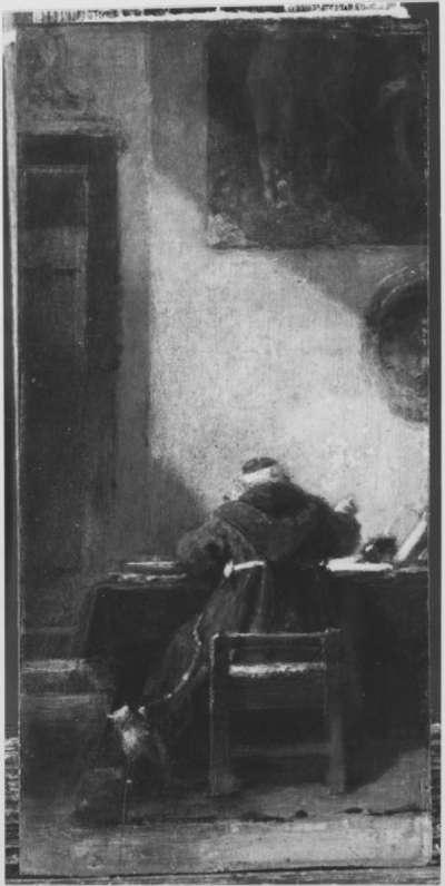 Mönch am Schreibtisch