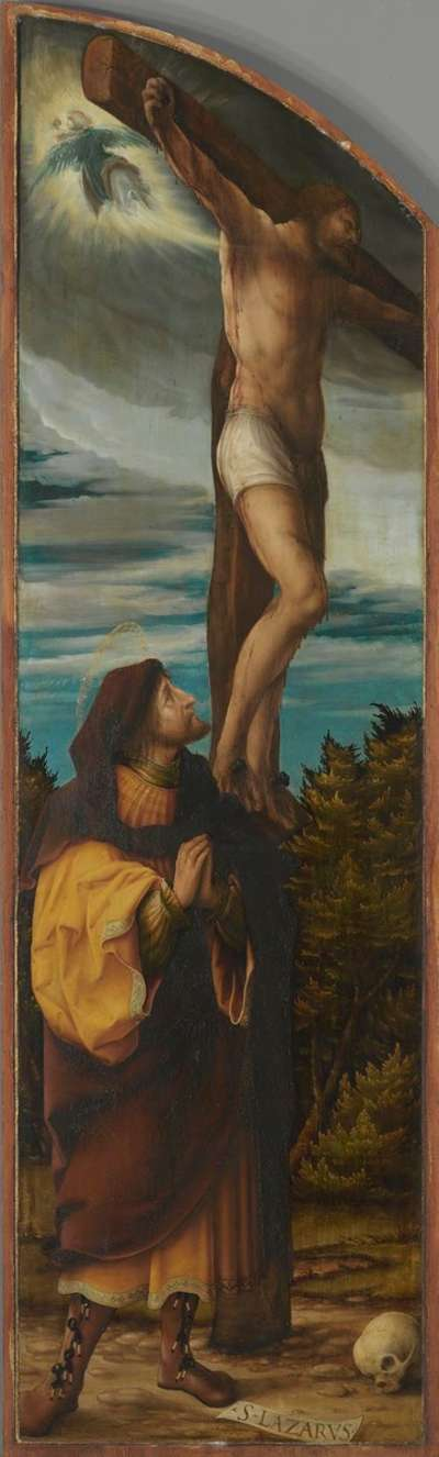 Kreuzigungsaltar, linker Flügel: Der bußfertige Schächer und der hl. Lazarus