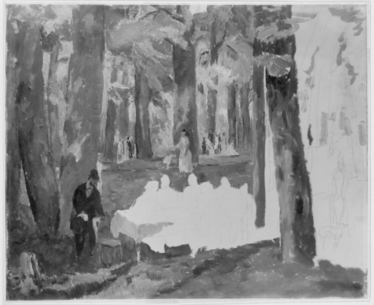Waldinneres mit Figuren