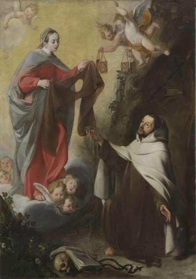 Maria überreicht dem Karmelit Simon Stock das Skapulier