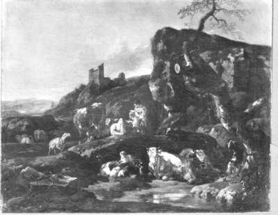 Italienische Berglandschaft mit Hirten und ruhender Viehherde