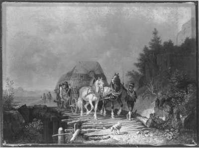 Erntewagen auf einer Holzbrücke