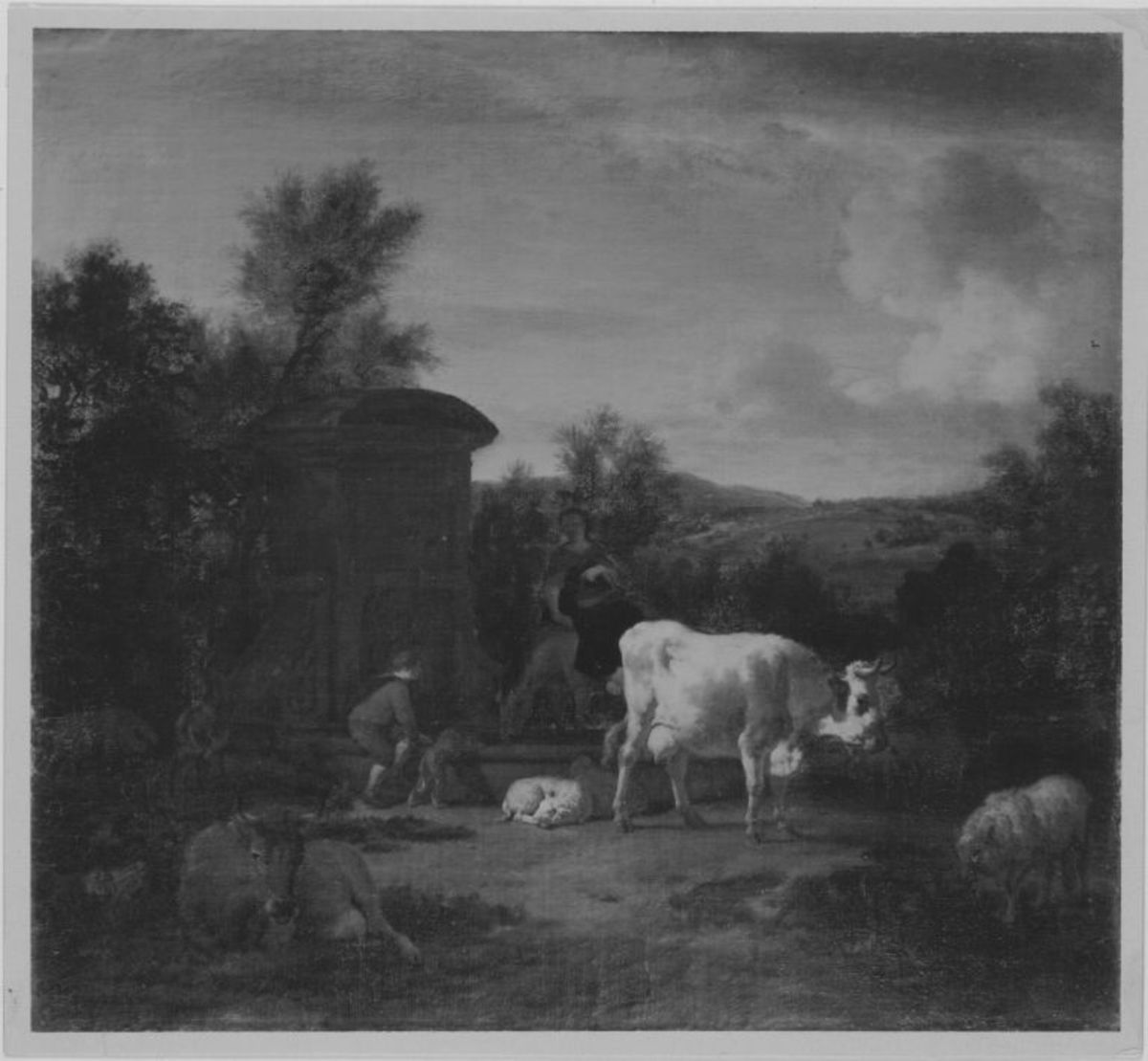 Herde und Hirten am Brunnen