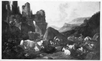 Italienische Ruinenlandschaft mit Hirten und ruhender Viehherde