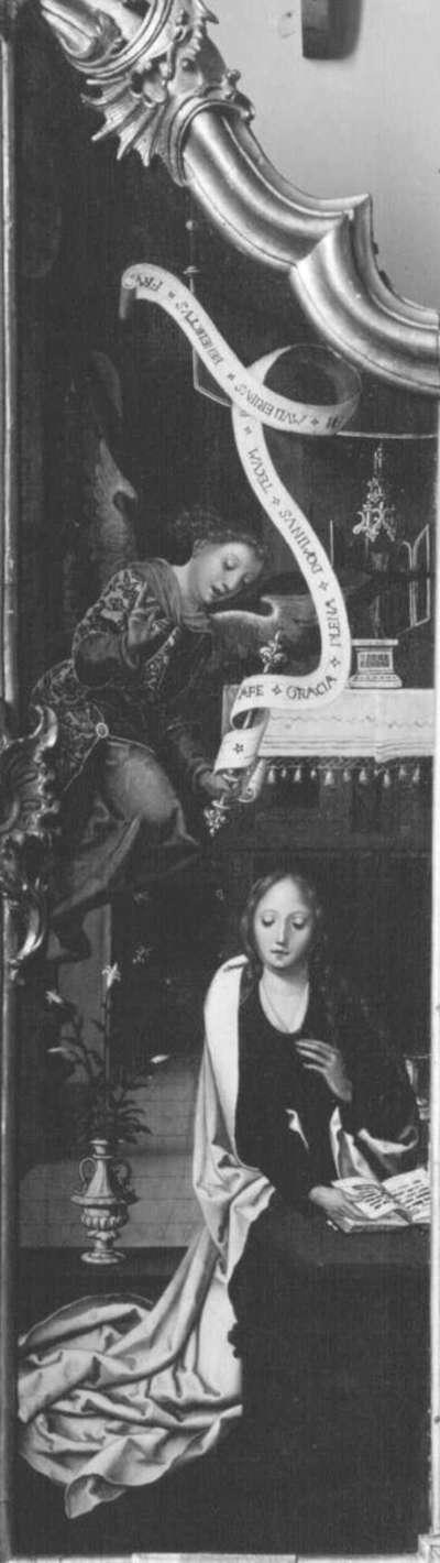 Triptychon, linker Flügel: Verkündigung an Maria