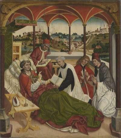 Weihenstephaner Altar: Tod des hl. Korbinian Rückseite: Christus am Ölberg