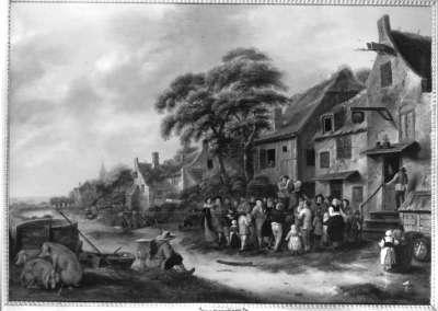 Bänkelsänger vor der Dorfschenke