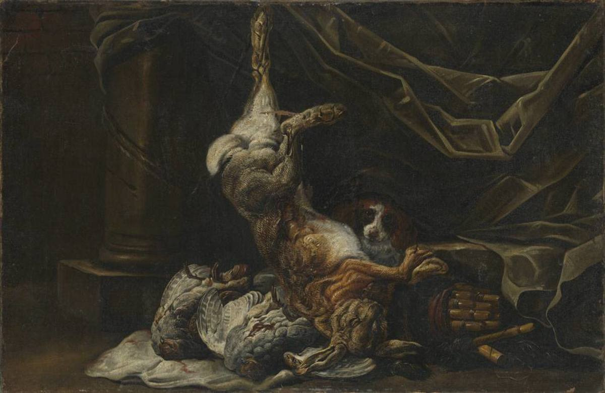 Jagdbeutestillleben mit einem Hasen und zwei Rebhühnern