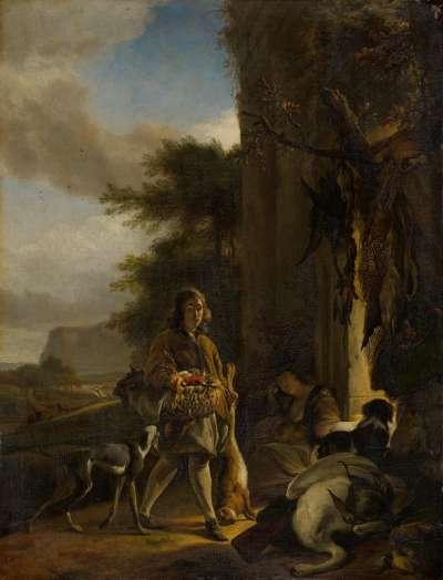 Jägerbursche mit Beute