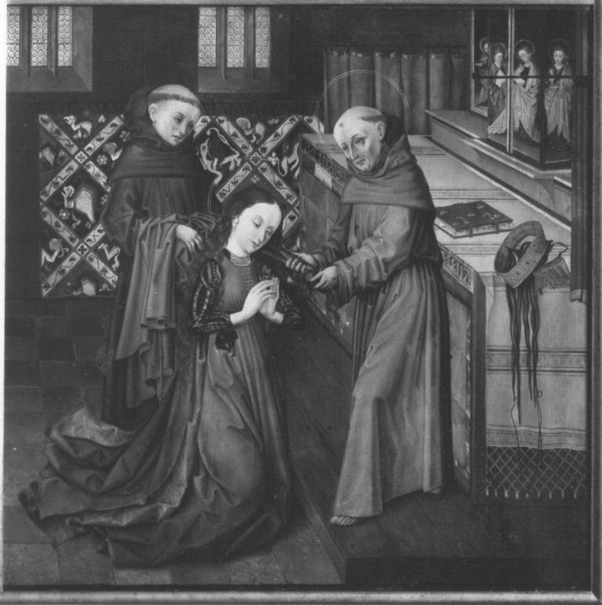 Klarenaltar: Die hl. Klara wird vom hl. Franziskus als Nonne eingekleidet